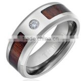 8MM Comfort Fit Titanium Wedding Band Engagement Ring with Dark Wood Inlay Round Cut CZ Center Stone and Beveled Edges