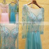 Shining Beaded Rhinestone Long Sleeve Evening Dresses 2016 Latest Sexy See Through A-line Prom Gowns Free Shipping ML201