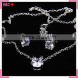 Imitation american diamond necklace sets for women, with earring imitation pure silver chain necklace