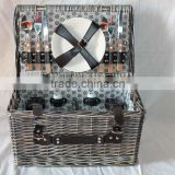 Hot sale natural storage baskets for 4 persons antique picnic basket
