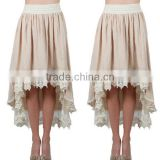50s Skirt Extender Woman's Romantic Layered Crochet Tulle lace Skirts In Off White / Black