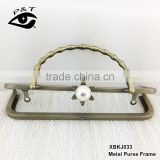 China high quality metal clutch purse frame with handle big pearl clasp