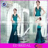 CE201 Gorgeous Sexy V-Neck Backless Fitted Mermaid Emerald Green Satin Evening Dress In Turkey