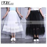 Hot sale embroired lace a line maxi tulle long skirts ladies