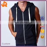 factory price men gym sleeveless hoodie shirt for muscle men,zip up hoodie shirt in china