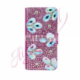 Aidocrystal bling rhinestones pink flip leather holster cell phone cover for iphone 7 plus phone case