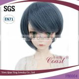 Factory Best grey blue synthetic short straight BJD hair wigs for dolls