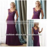 Hot Sell Elegant A-line Beaded Applique Lace Purple Mother Of The Bride Dress, Evening Dress