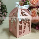 2016 Pink Theme Bride and Groom Laser Cut Gift Boxes for Wedding Decoration                                                                         Quality Choice