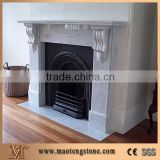White Marble Fireplace Flower Handcarved with Column Sculptured Western Style