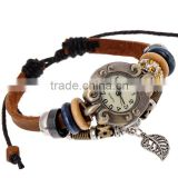 Stock Beautiful Design Ancient Leaf Watch Wood Charms Multy Strand Wrap Leather Bracelet Adjustable Size