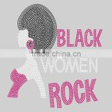 black women rock Afro rhinestones transfer appliques for T-shirt                                                                         Quality Choice