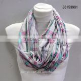wholesale women scarf ring knitting plaid printed lady hoop infinity scarfs yiwu factory