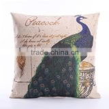 2016 Top quality bird cushion linen cotton cushion cover for sofa