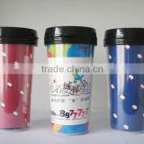 420ml double wall plastic mug with advertising insert paper ,promotional mug advertising cup