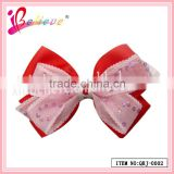 Girlfriends favorite gift hair accessories no fade no smell fabric red ribbon bow hairgrips (QRJ-0002)
