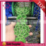 Wholesale embroidery polyester stripe laceappliques embroidery lace for saree dress