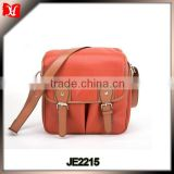 Outdoor use ladies orange small size Vintage PU leather Camera Bag