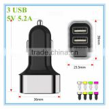 hot sale oem black and white with colorful aluminum ring led 3 port 5v 5.2a mobile charger micro USB cable