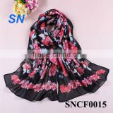 fashionable butterfly floral chiffon animal print scarf                                                                         Quality Choice