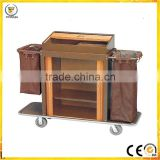 factory Best selling hotel restaurant room service stainless steel & wood housekeeping Commercial Design cart trolley