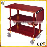 Lengthened wooden service wood structure liquor trolley for hotel air restaurant yiyongjia with four wheel