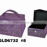 Purple wholesale cardboard Portable Packaging Box design with Handle/PVC leather/Satin lining/magnetic snap