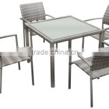 Hot sale Chinese wicker rattan table and chair patio rattan garden dining furniture rattan dining set