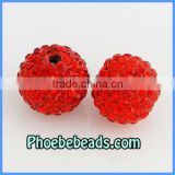 14MM Shamballa Beads Wholesale Red CZ Crystal Rhinestone Disco Ball Round DIY Making Bracelets Necklace Findings