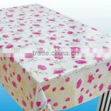 pvc non-woven flower design embroidery tablecloth, latest design printing embroidery tablecloth