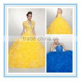Yellow Organza Flower Skirt Beads Quinceanera Dress (QUMO-1008)