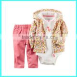 OEM baby girls top & pants set baby outfits baby hoodies set 3pcs
