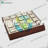 Jewelry Display, Wood Earring Display Trays, Imitation Leather with Charpie Inside, Rectangle, White YM4090W