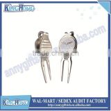Silver plated magnetic ball marker blank golf divot tool