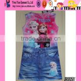 Fashion Hot Girls Pattern Printed Jean Dress Custom Sleeveless One Piece Frozen Elsa Dress Wholesale