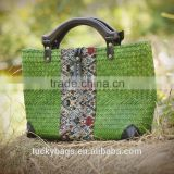 2016 new summer handbag women wood handle thailand handmade bag green colour thailand women beach bag