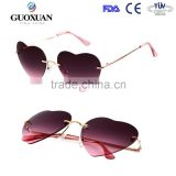 Progressive Dual Colors Rimless Women Metal Heart Shaped Sunglasses