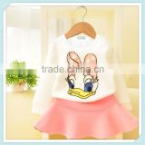 summer teen girl clothing set boutique cotton skirt with white t-shirt set fancy cartoon clothing set