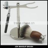 Custom Metal Stand Shaving kit Wood and metal handle nylon shaving brush set with Razor