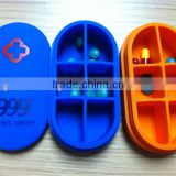 2016 Eco-friendly silicone six checks medicine box &pill case