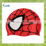 Wholesale funny Spider-Man printing silicone kids swimming cap