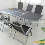 folding chair aluminum frame/modern extendable dining table for 8/outdoor folding chair 8 seating dining set in stock
