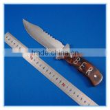 "7"" Wood Handing Fixed Outdoor Camping Tanto Hunting Knife"