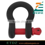 4.75 Ton Black D Ring Bow Shackle with Red 3 4 Pin 10,500lb Capacity