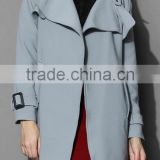Beige /Grey/Indigo blue color Open front design Full lined long jacket,beautiful women Belted Textured Trench jacket Coat