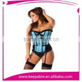 Manufacturer Sexy Blue Satin Outwear Strapless Lingerie With Legging Body Shaper Corset