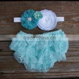 Cute cotton baby ruffle bloomer with bowknot infant diaper cover wholesale children's boutique clothes