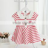 Stripe Princess Children Boutique Shortsleeve Girls Red With White Dress