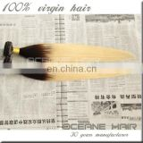 Grade 7A wholesale silk straight hair wave ombre color hair colored 2 tone blonde ombre hair weaves