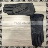 2016 Fashion Women Sheep Black Leather Dress Gloves Women With Button